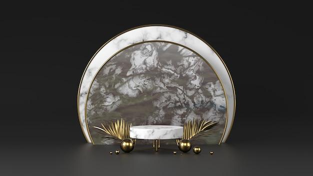 Podio cilindro di marmo bianco di lusso e foglie dorate a sfondo nero.