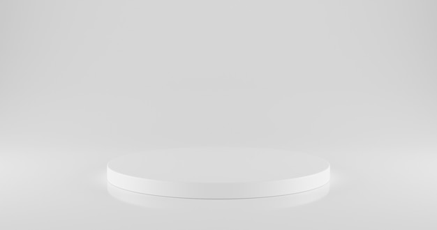 Podio circolare bianco su bianco con spazio.