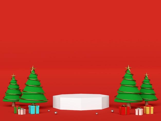 Podio con l'albero di natale per la pubblicità del prodotto rendering 3d