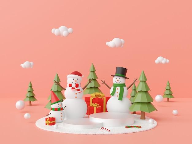 Podio con la rappresentazione dell'albero di natale e del pupazzo di neve 3d