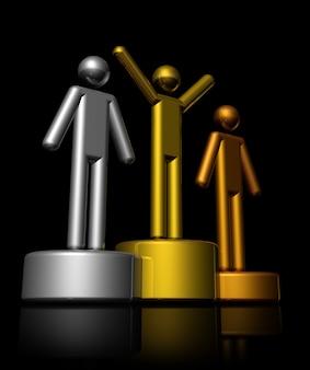 Podio con vincitori di bronzo, argento e oro - illustrazione tridimensionale isolato su fondo nero