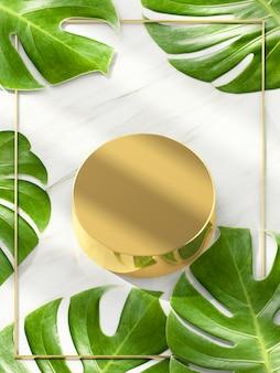 Podio del cerchio dell'oro per la mostra del prodotto con il fondo delle foglie verdi