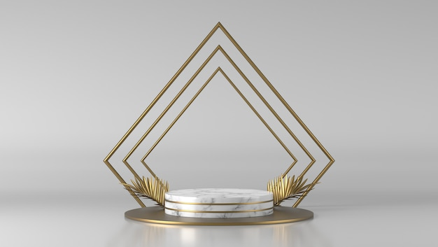 Podio del cilindro di marmo bianco di lusso astratto e foglia dorata nel fondo bianco.
