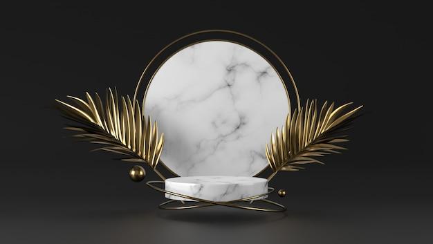 Podio del cilindro di marmo bianco di lusso astratto e foglia dorata nel fondo nero.