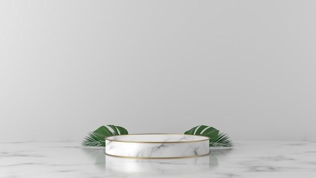 Podio del cilindro di marmo bianco di lusso con foglie in sfondo bianco.