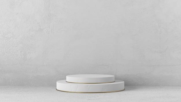 Podio del cilindro di marmo bianco di lusso minimo nel fondo bianco
