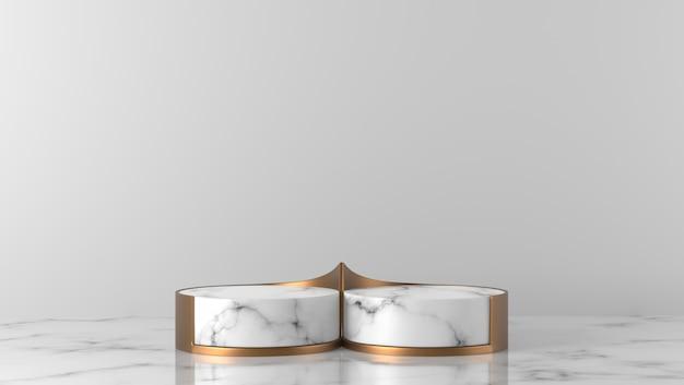 Podio del cilindro di marmo bianco e oro di lusso minimo due nel fondo bianco