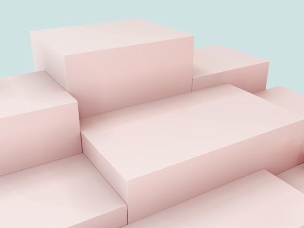 Podio dell'esposizione del prodotto rosa, fondo astratto