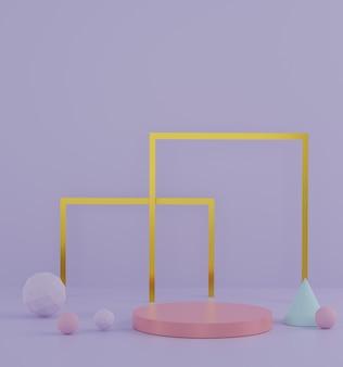 Podio della fase della sfilata di moda 3d con il fondo pastello di tema. scena vuota per spettacolo di prodotti.