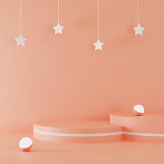 Podio della rappresentazione 3d con l'accento delle stelle e la palla leggera
