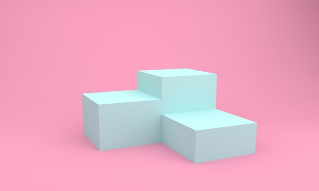 Podio design blu e rosa 3d illustration design