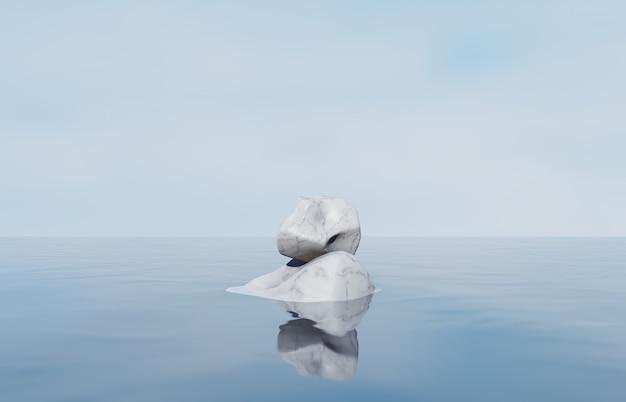 Podio di bellezza naturale con pietra di marmo per esposizione di prodotti cosmetici. priorità bassa astratta nella composizione in scena 3d. sfondo di paesaggio marino.