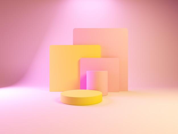 Podio di colore rosa di forma astratta geometria per prodotto