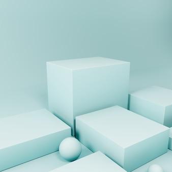 Podio di esposizione del prodotto blu, fondo astratto