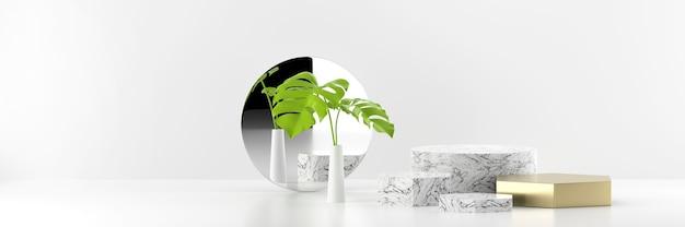 Podio di fase di esposizione del prodotto in marmo con specchio e rendering 3d di sfondo vegetale.