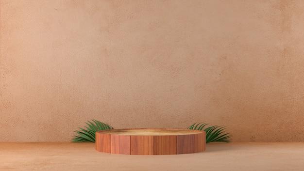 Podio di legno fine marrone di lusso minimo del cilindro nel fondo