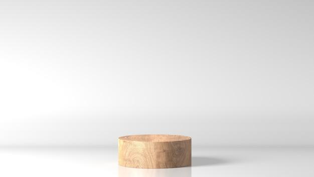 Podio di legno fine marrone minimo della vetrina del cilindro nel fondo bianco