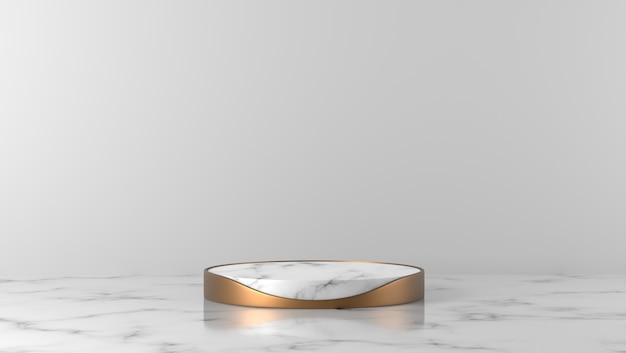 Podio di lusso bianco della vetrina del cilindro di marmo di scena minima nel fondo bianco