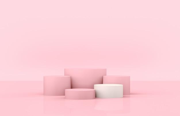 Podio di lusso con cornice di bellezza per la visualizzazione del prodotto. 3d sfondo rosa.