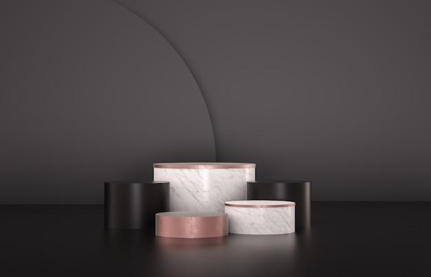 Podio di lusso con cornice di bellezza per la visualizzazione del prodotto. minimalista sfondo nero, marmo e rosa. rendering 3d.