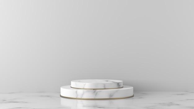 Podio di lusso in marmo bianco cilindro a sfondo bianco.