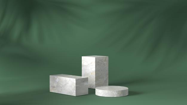 Podio di lusso in marmo bianco con scatola e cilindro sul fondo delle foglie d'ombra