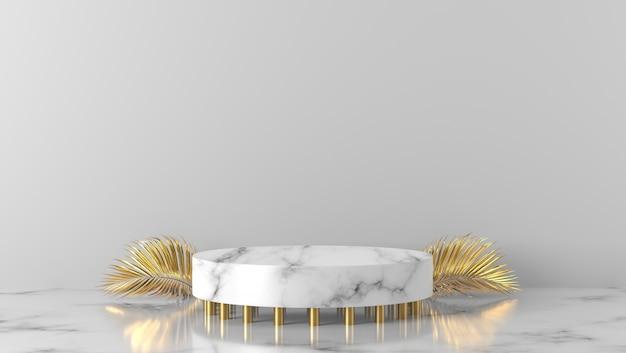 Podio di lusso in oro e cilindro in marmo bianco a sfondo bianco.