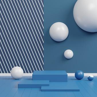 Podio di lusso lucido colore blu classico dell'anno 2020. palco sfilata di moda, piedistallo, vetrina