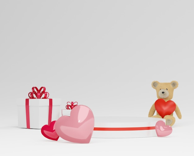 Podio di lusso lucido per il tuo design. confezione regalo rosa, orsacchiotto e palloncino rosa su sfondo pastello. buon san valentino.