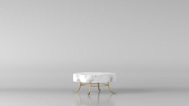 Podio di lusso minimo del cilindro di marmo bianco e dorato della vetrina nel fondo bianco