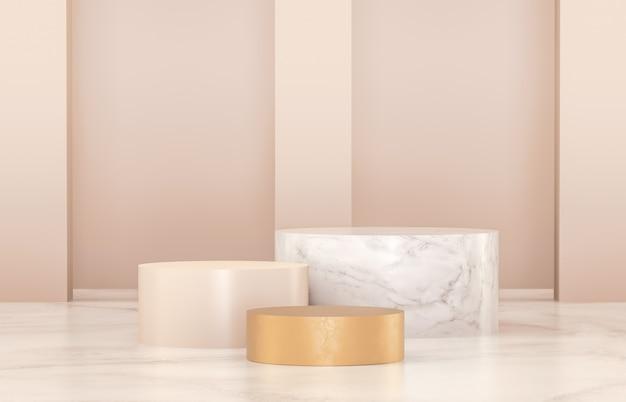 Podio di lusso per la visualizzazione dei prodotti. colori minimalisti in oro, marmo e bianco. rendering 3d.