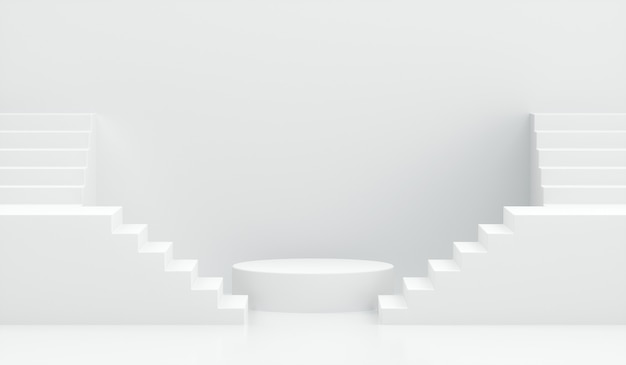 Podio di rendering 3d con scale su bianco