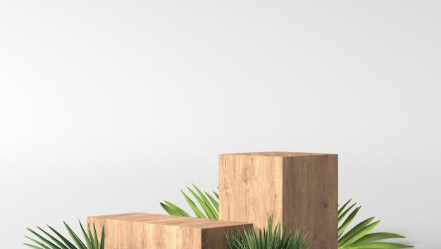 Podio e foglie verdi fini marroni di lusso minimi della scatola di legno nel fondo bianco