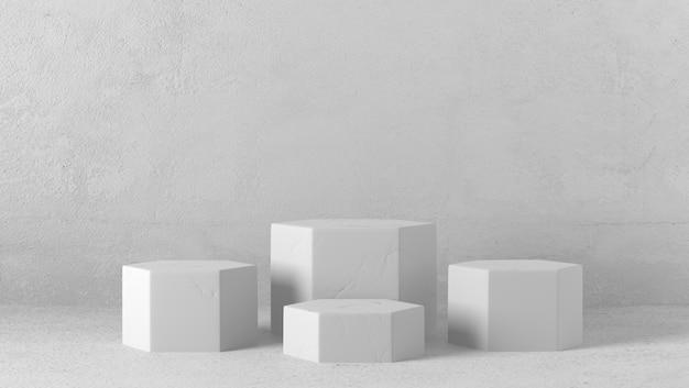 Podio esagonale di marmo bianco minimo nel fondo bianco