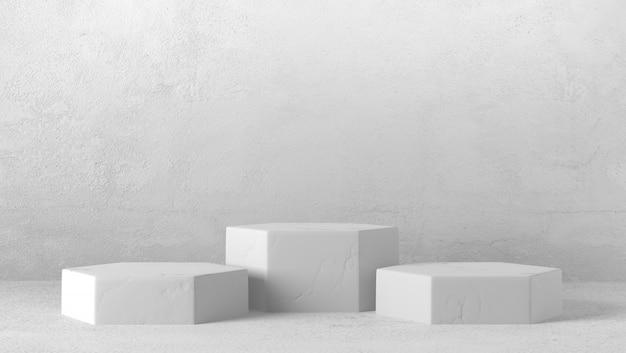 Podio esagonale di marmo bianco minimo tre nel fondo bianco