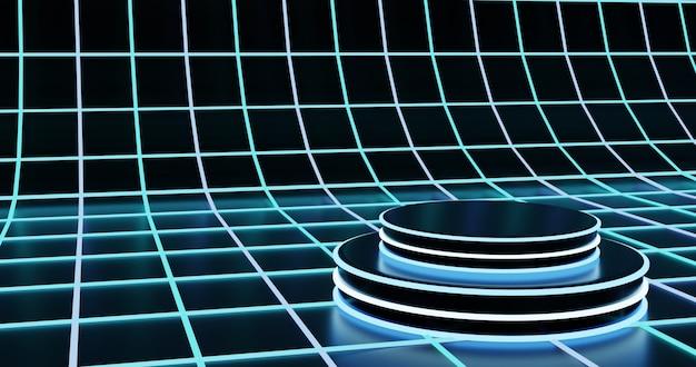 Podio futuristico su sfondo di superficie al neon wireframe