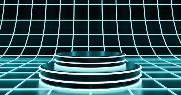 Podio futuristico su sfondo superficie ologramma