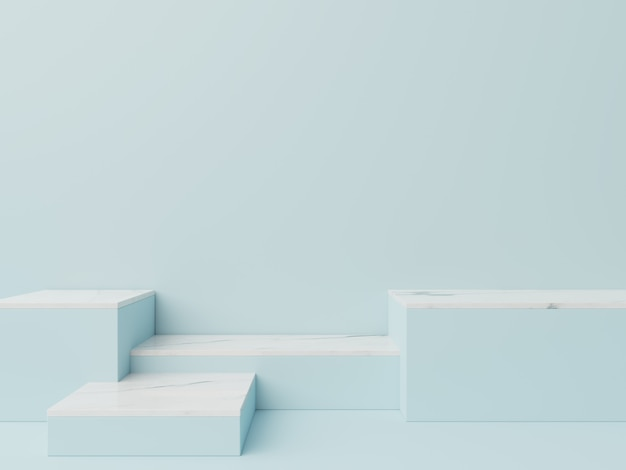 Podio in astratto per l'immissione di prodotti e per l'immissione di premi con uno sfondo blu, rendering 3d