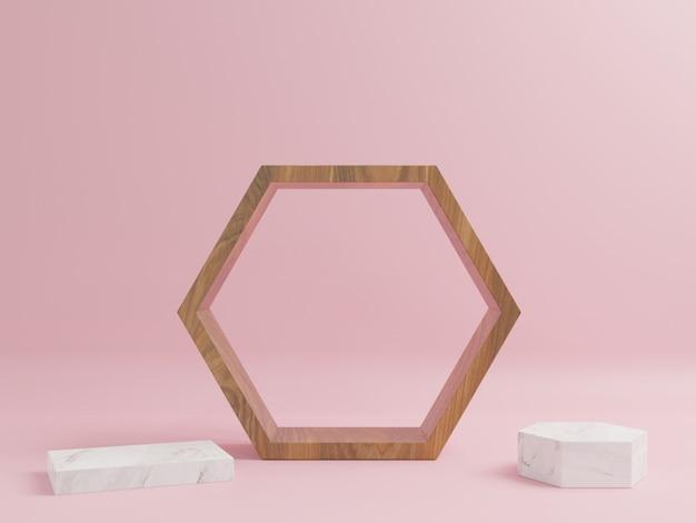 Podio in legno con piedistalli di marmo tutt'intorno con uno sfondo rosa.