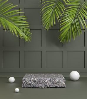Podio in pietra di granito nero con colore verde oliva scuro e rendering 3d di foglie di palma