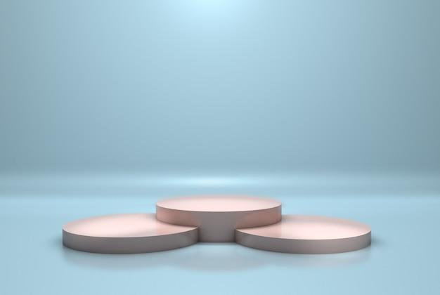 Podio o piedistallo moderno con il concetto della piattaforma sulla parete blu pastello. rendering 3d