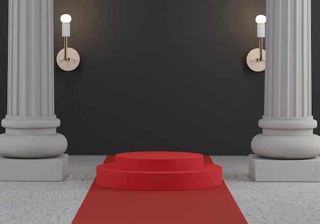 Podio palco sfilata decorare con colonna o pilastro e tappeto rosso. scena vuota per spettacolo di prodotti. concetto di stile greco antico.