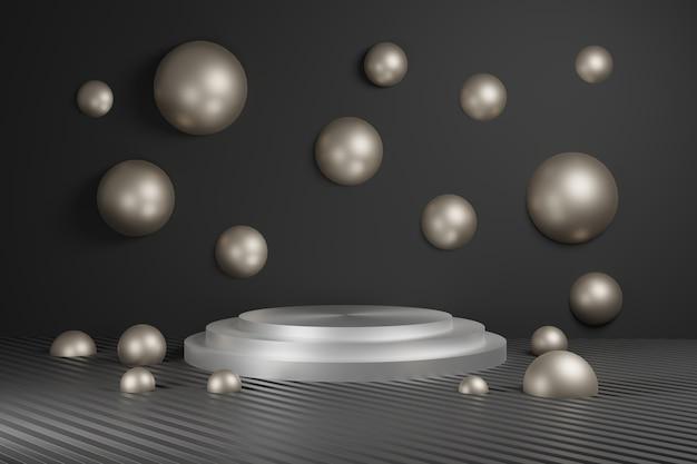 Podio per banner pubblicitari bronzo e argento. il minimalismo, le forme geometriche astratte e il fondo 3d delle forme rendono.