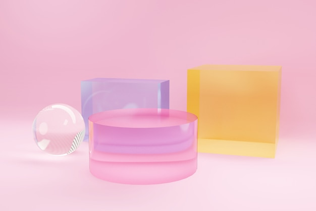 Podio per banner pubblicitario multicolore da vetro. il minimalismo, le forme geometriche astratte e il fondo 3d delle forme rendono.
