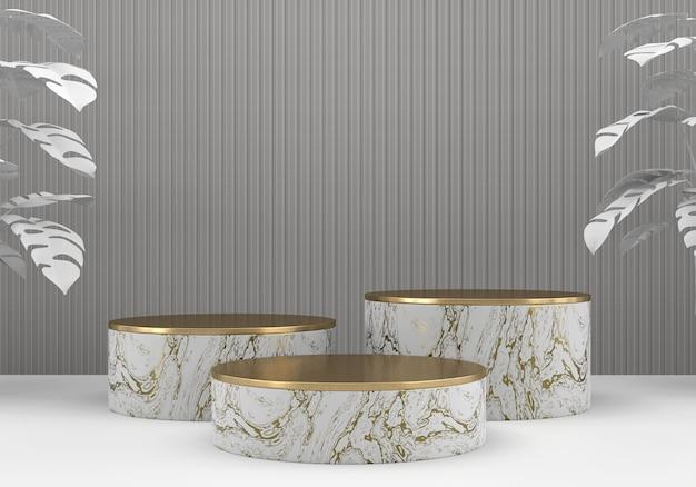 Podio piattaforma in marmo bianco e oro, per lo sfondo del display pubblicitario del prodotto