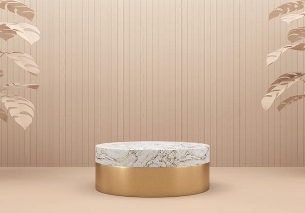 Podio piattaforma palco in oro rosa e marmo bianco, per lo sfondo del display pubblicitario del prodotto