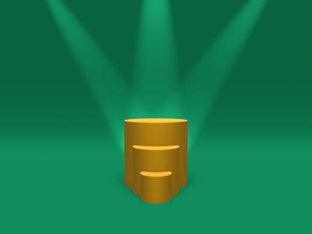 Podio, piedistallo o piattaforma color oro illuminato da faretti. rendering 3d.