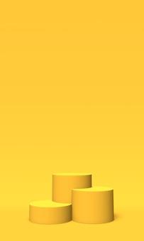 Podio, piedistallo o piattaforma color oro su sfondo giallo. illustrazione astratta di semplici forme geometriche. rendering 3d.