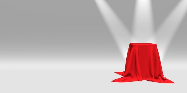 Podio, piedistallo o piattaforma coperta con un panno rosso illuminato da faretti su sfondo bianco. illustrazione astratta di semplici forme geometriche. rendering 3d.