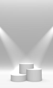 Podio, piedistallo o piattaforma di colore bianco illuminato da faretti. rendering 3d.